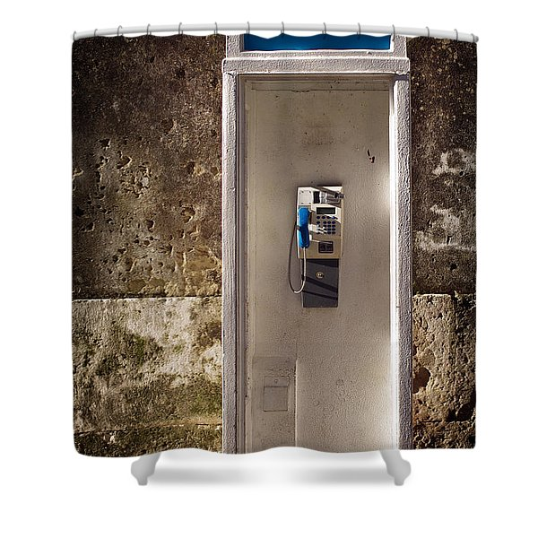 Old Phonebooth Shower Curtain by Carlos Caetano