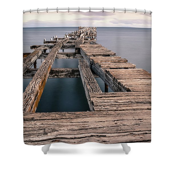 Old Pier In Punta Arenas Shower Curtain