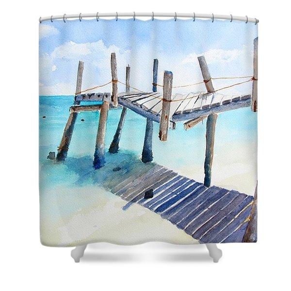 Old Pier On Playa Paraiso Shower Curtain