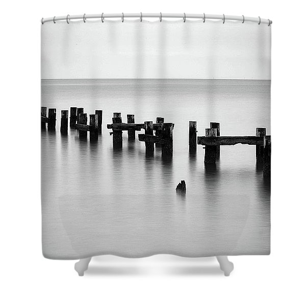 Old Pilings Black And White Shower Curtain