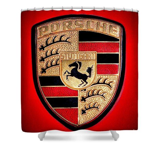 Old Porsche Badge Shower Curtain