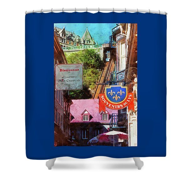 Old Quebec City Funicular Shower Curtain