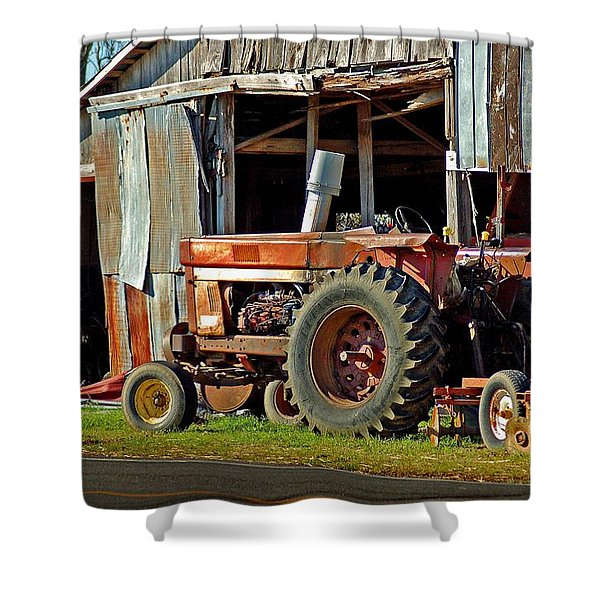 Old Red Tractor And The Barn Shower Curtain