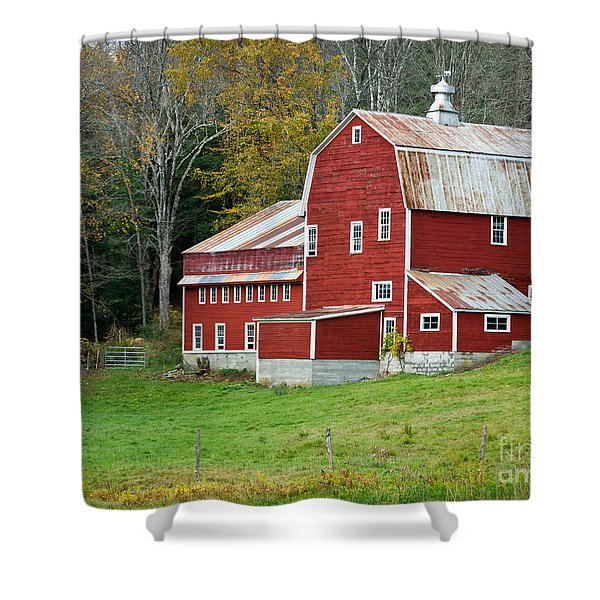 Old Red Vermont Barn Shower Curtain