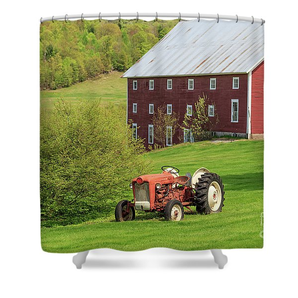 Old Red Vintage Ford Tractor On A Farm In Enfield Nh Shower Curtain