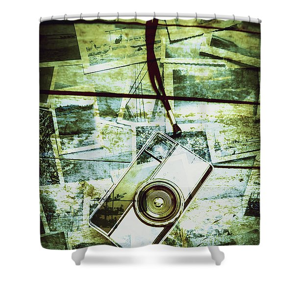 Old Retro Film Camera In Creative Composition Shower Curtain