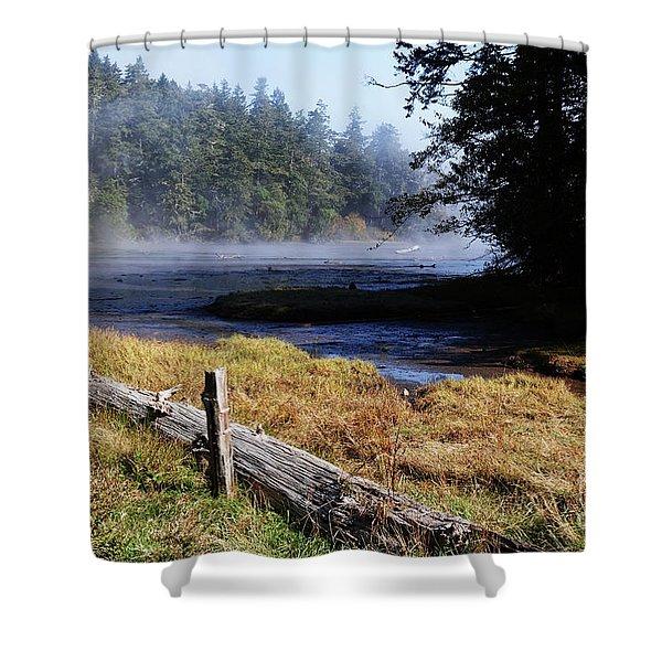 Old River Scene Shower Curtain
