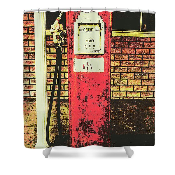 Old Roadhouse Gas Station Shower Curtain