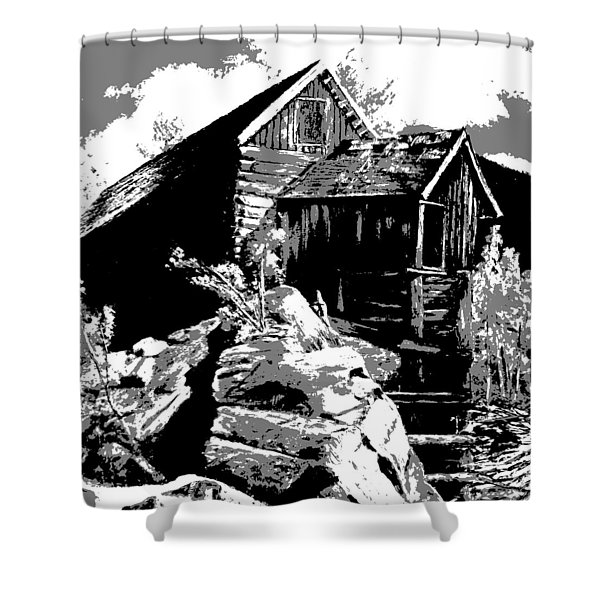 Shower Curtain featuring the digital art Old Rocky Mill by Deleas Kilgore