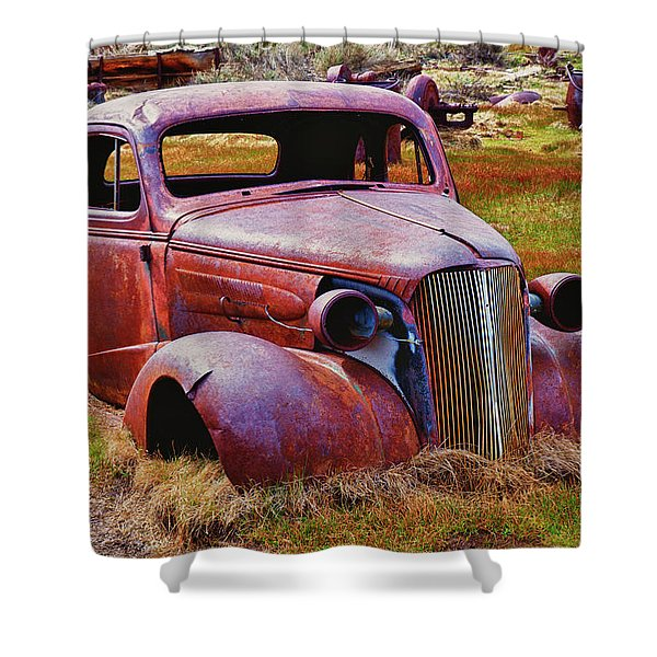 Old Rusty Car Bodie Ghost Town Shower Curtain