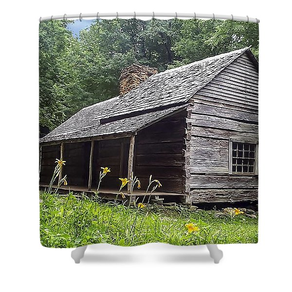 Old Settlers Cabin Smoky Mountains National Park Shower Curtain