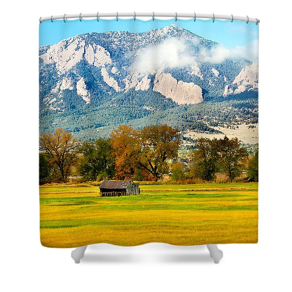 old shed against Flatirons Shower Curtain