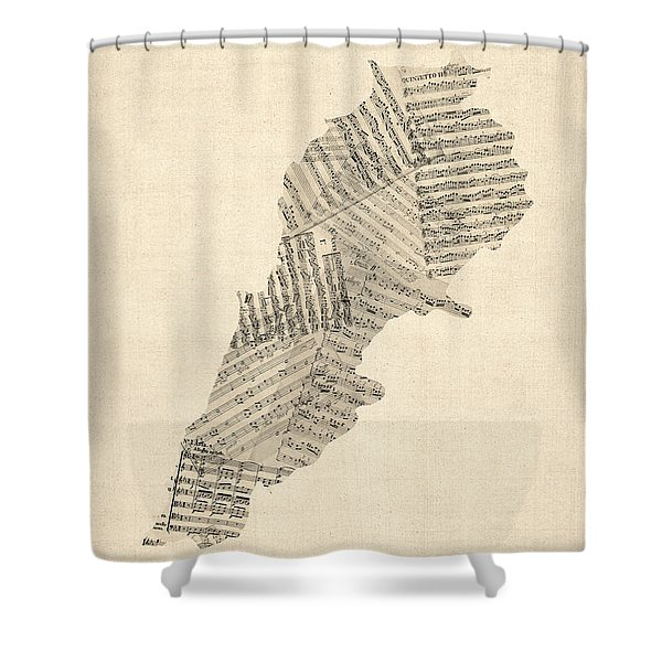 Old Sheet Music Map Of Lebanon Shower Curtain