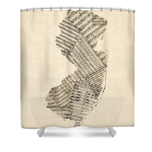 Old Sheet Music Map Of New Jersey Shower Curtain