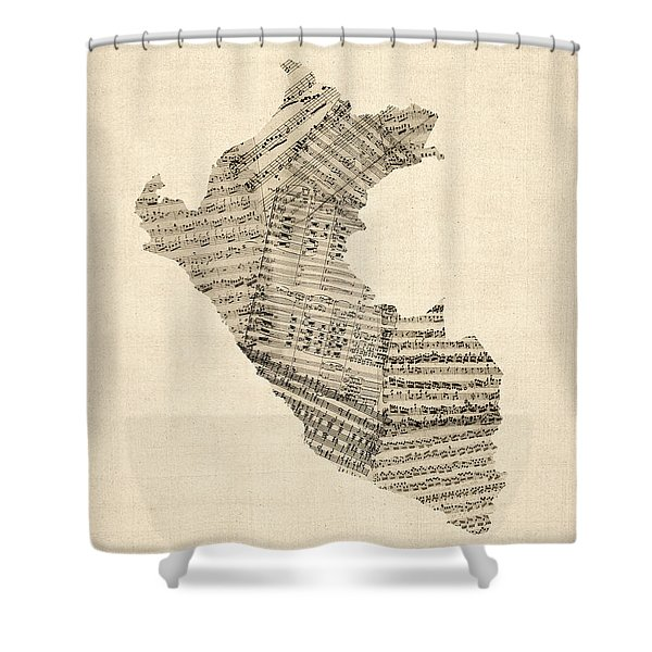 Old Sheet Music Map Of Peru Map Shower Curtain