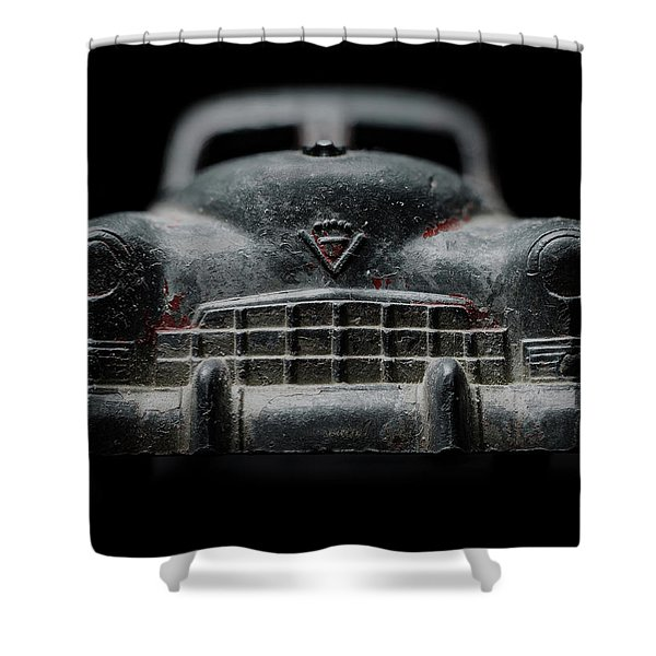 Old Silver Cadillac Toy Car With Specks Of Red Paint Shower Curtain