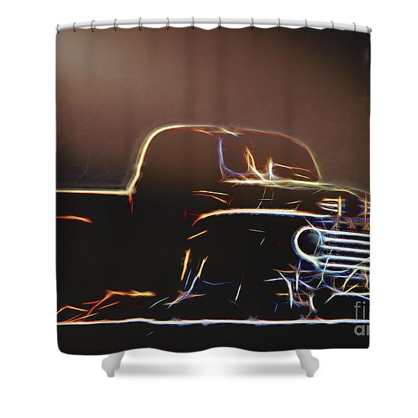 Old Sketched Pickup Shower Curtain