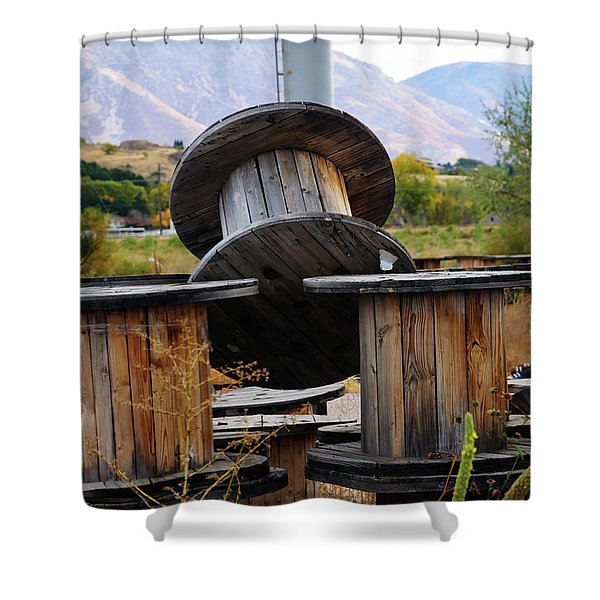 Old Spool Shower Curtain