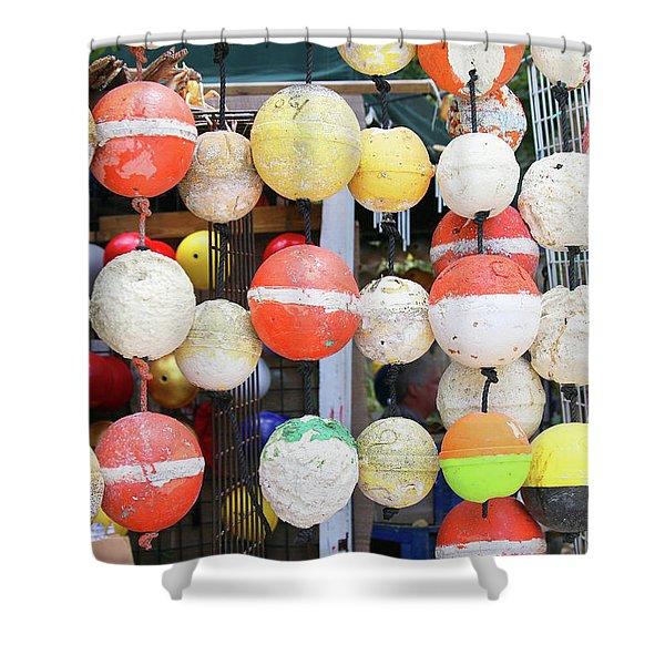 Old Styrofoam Floats Shower Curtain