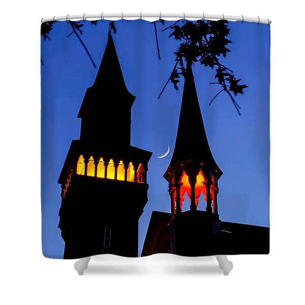 Old Town Hall Crescent Moon Shower Curtain