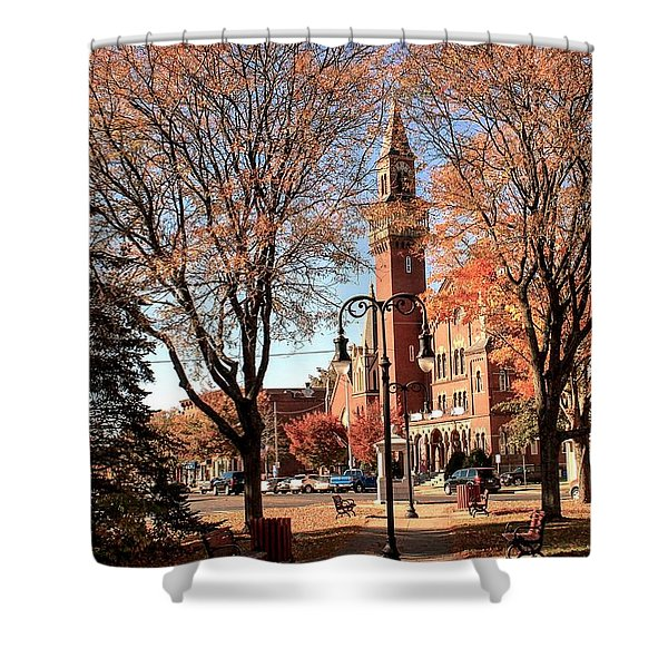 Shower Curtain featuring the photograph Old Town Hall In The Fall by Sven Kielhorn
