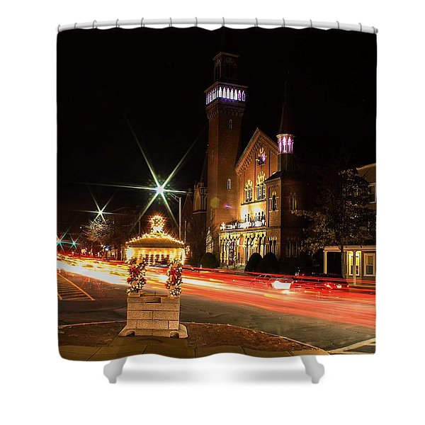 Old Town Hall Light Trails Shower Curtain