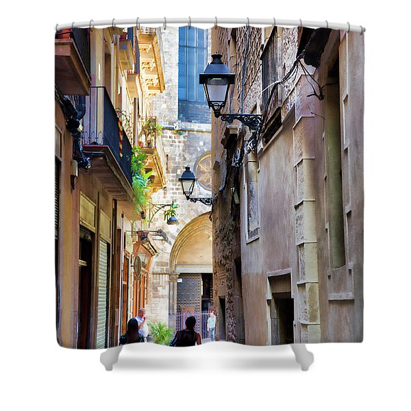 Old Town La Rambia Barcelona  Shower Curtain