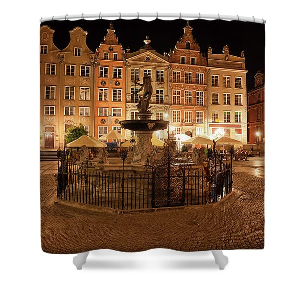 Old Town Of Gdansk By Night In Poland Shower Curtain