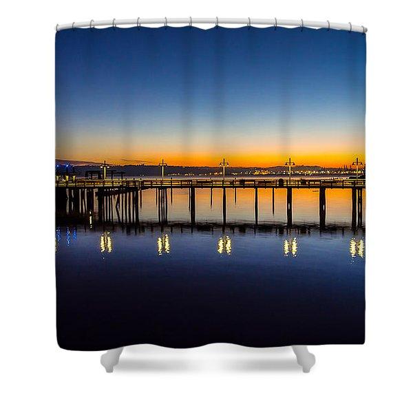 Old Town Pier Blue Hour Sunrise Shower Curtain