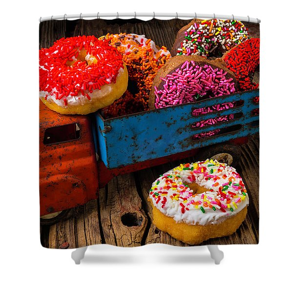 Old Toy Truck And Donuts Shower Curtain