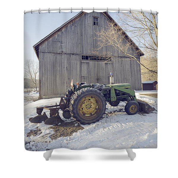 Old Tractor By The Barn Winter Etna Shower Curtain