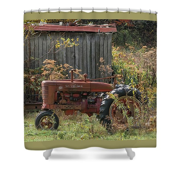 Old Tractor On The Farm. Shower Curtain
