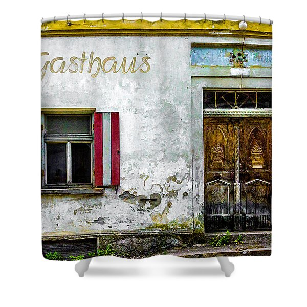 Old Traditional Austrian Tavern Shower Curtain