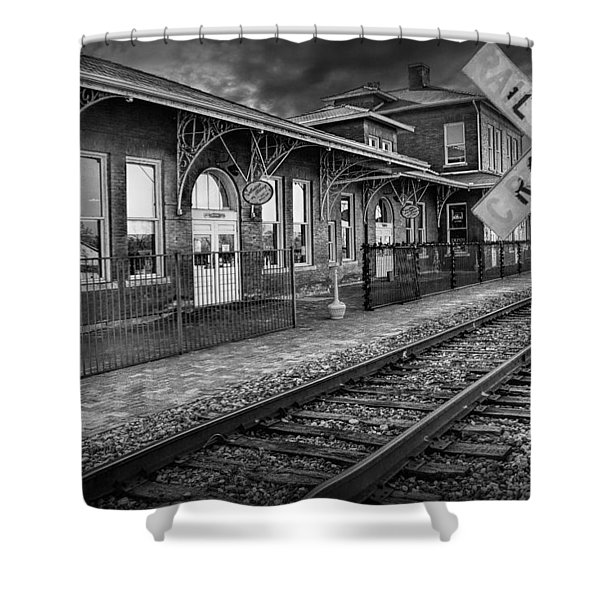 Old Train Station With Crossing Sign In Black And White Shower Curtain