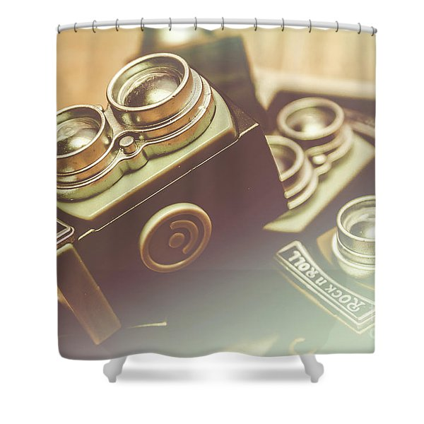 Old Vintage Faded Print Of Camera Equipment Shower Curtain