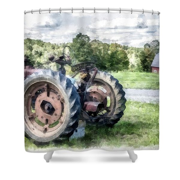 Old Vintage Tractor On The Farm Shower Curtain