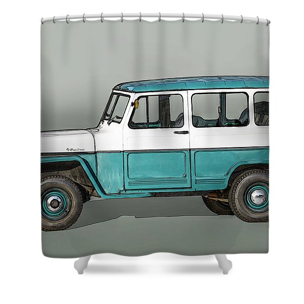 Old Willys Jeep Wagon Shower Curtain