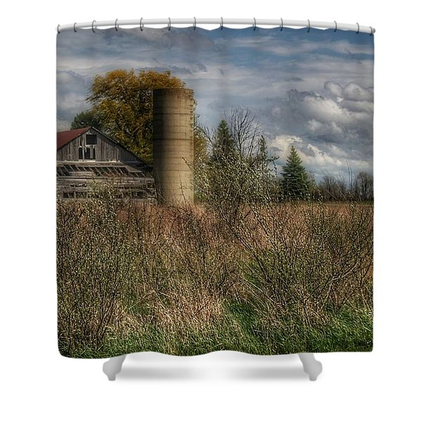 0034 - Old Wooden Barn And Silo Shower Curtain