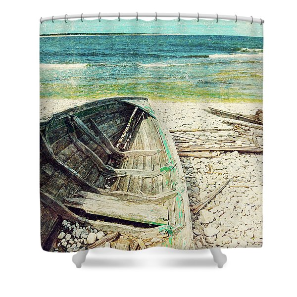 Old Wooden Boat On The Seashore, Retro Image Shower Curtain