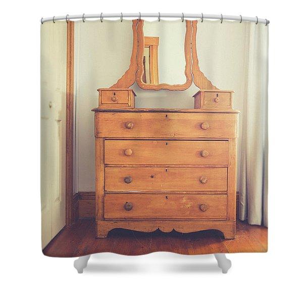 Old Wooden Dresser Shower Curtain