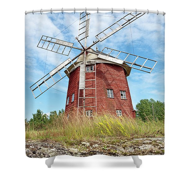 Old Wooden Windmill In Sweden Shower Curtain