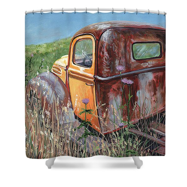 Old Yellow Shower Curtain