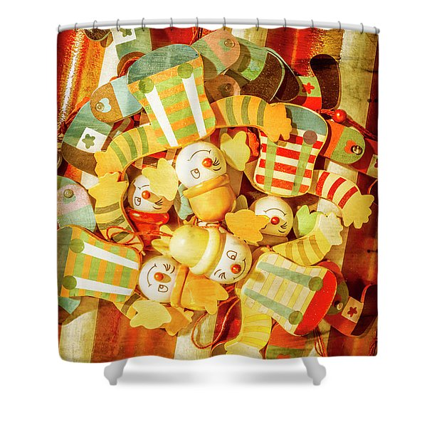 Olden Day Clown Show Shower Curtain