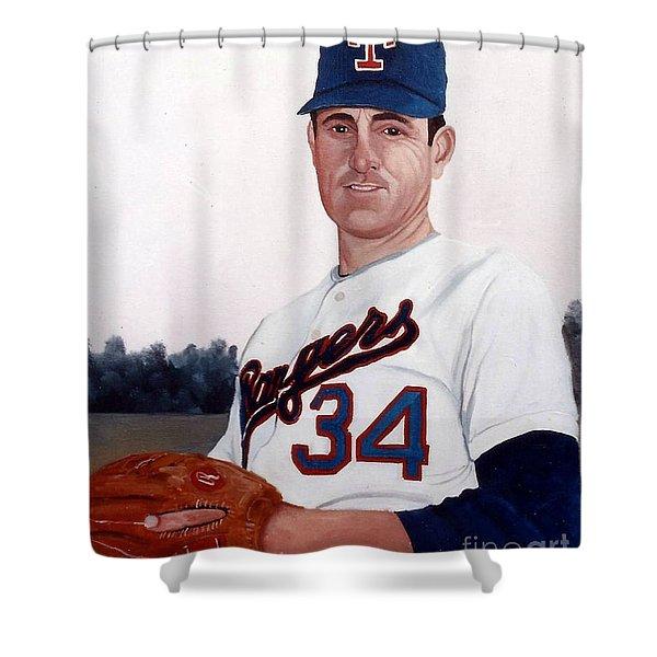 Older Nolan Ryan With The Texas Rangers Shower Curtain