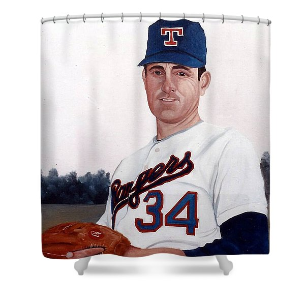 Shower Curtain featuring the painting Older Nolan Ryan With The Texas Rangers by Rosario Piazza