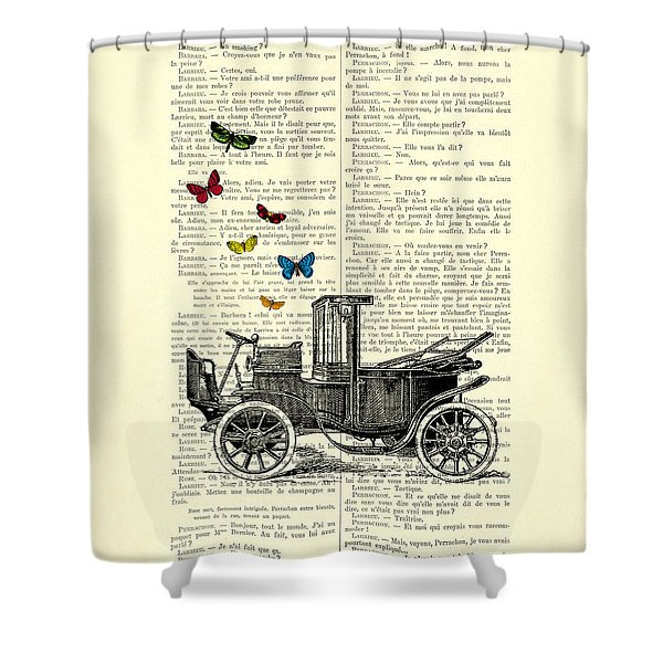 Oldtimer And Butterflies Shower Curtain