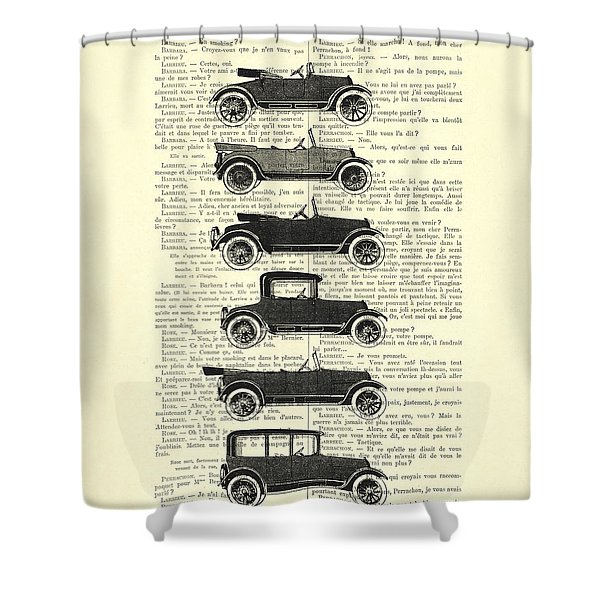 Collection Oldtimers In Black And White Vintage Illustration Shower Curtain