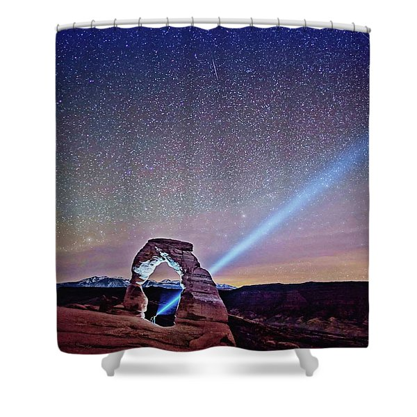 Olena Art Starry Night Pointer At Delicate Arch Moab National Park Shower Curtain