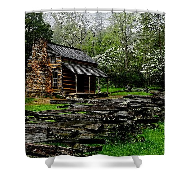 Oliver's Cabin Among The Dogwood Of The Great Smoky Mountains National Park Shower Curtain