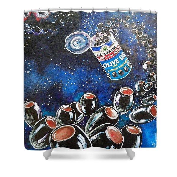 Blaa Kattproduksjoner                     Oliveus Are Canned Together Can Shower Curtain